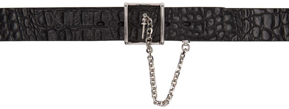Alexander Mcqueen Black Chain and Buckle Belt