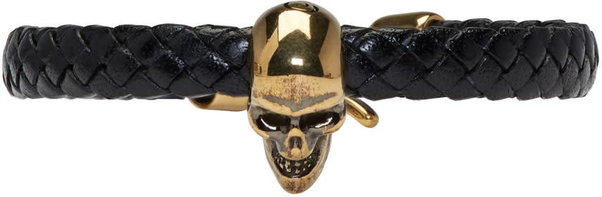 Alexander Mcqueen Black Leather Skull Bracelet