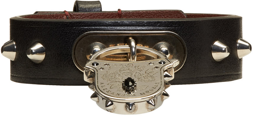 Alexander Mcqueen Leather Studded Padlock Bracelet