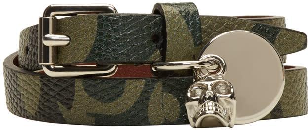 Alexander Mcqueen Green Camo Skull Charm Double Wrap Bracelet