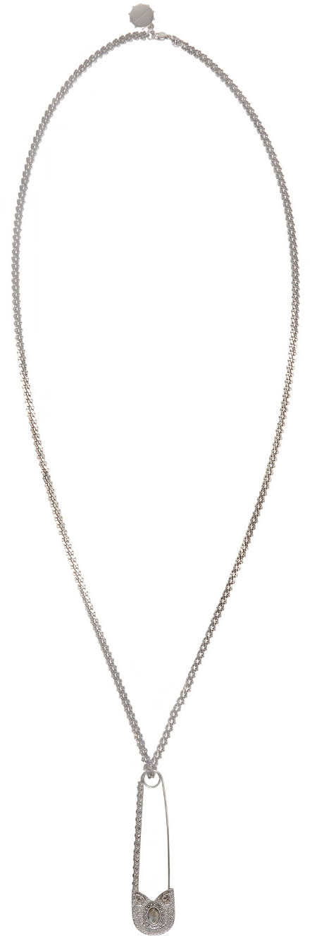 Alexander Mcqueen Silver Oversized Safety Pin Necklace