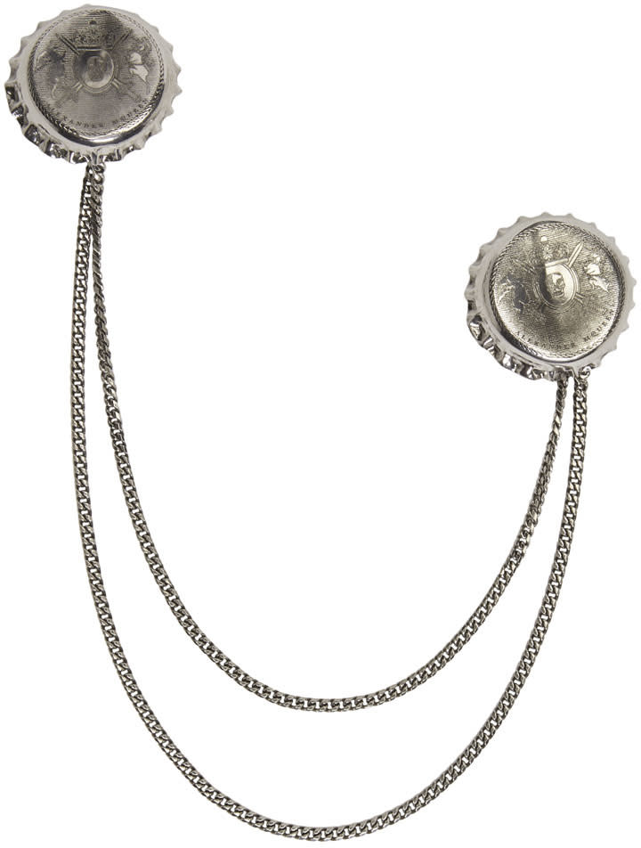 Alexander Mcqueen Silver Double Cap Brooch