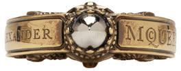 Alexander Mcqueen Gold Skull Engraved Ring