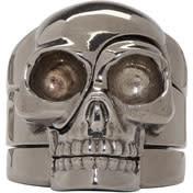 Alexander Mcqueen Silver Puzzle Skull Ring