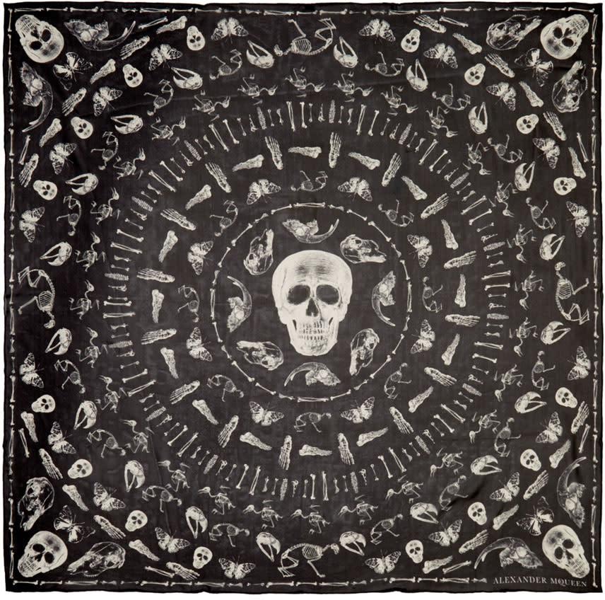 Alexander Mcqueen Black Bones Scarf