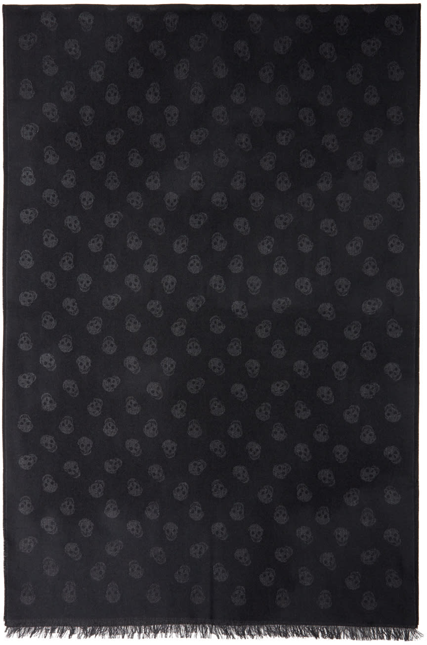 Image of Alexander Mcqueen Black and Grey Jacquard Skull Scarf