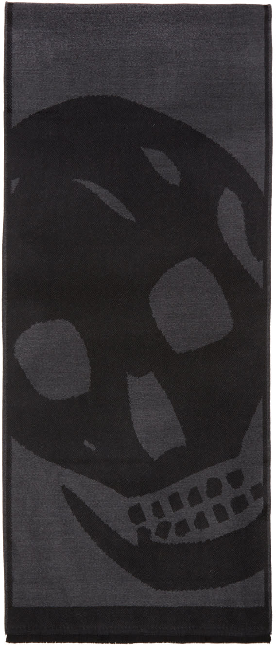 Image of Alexander Mcqueen Black and Grey Oversized Skull Scarf