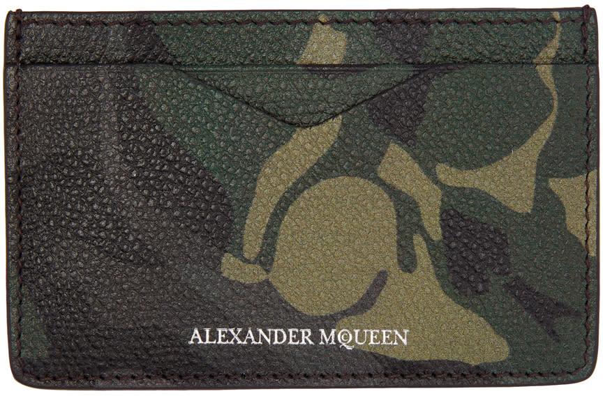 Alexander Mcqueen Green Camo Card Holder