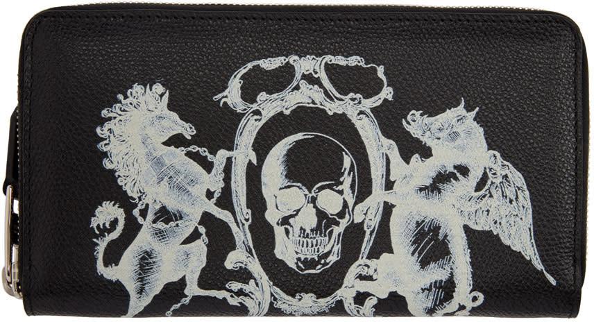 Alexander Mcqueen Black coat Of Arms Continental Zip Around Wallet