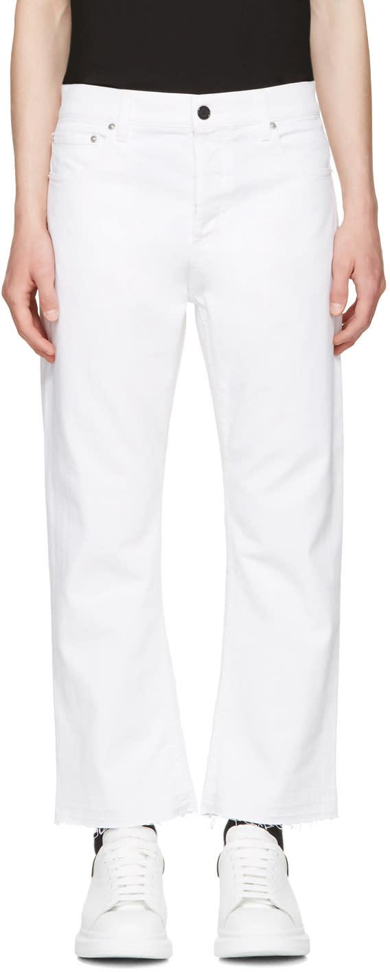 Alexander Mcqueen White Slit Hem Kickback Jeans