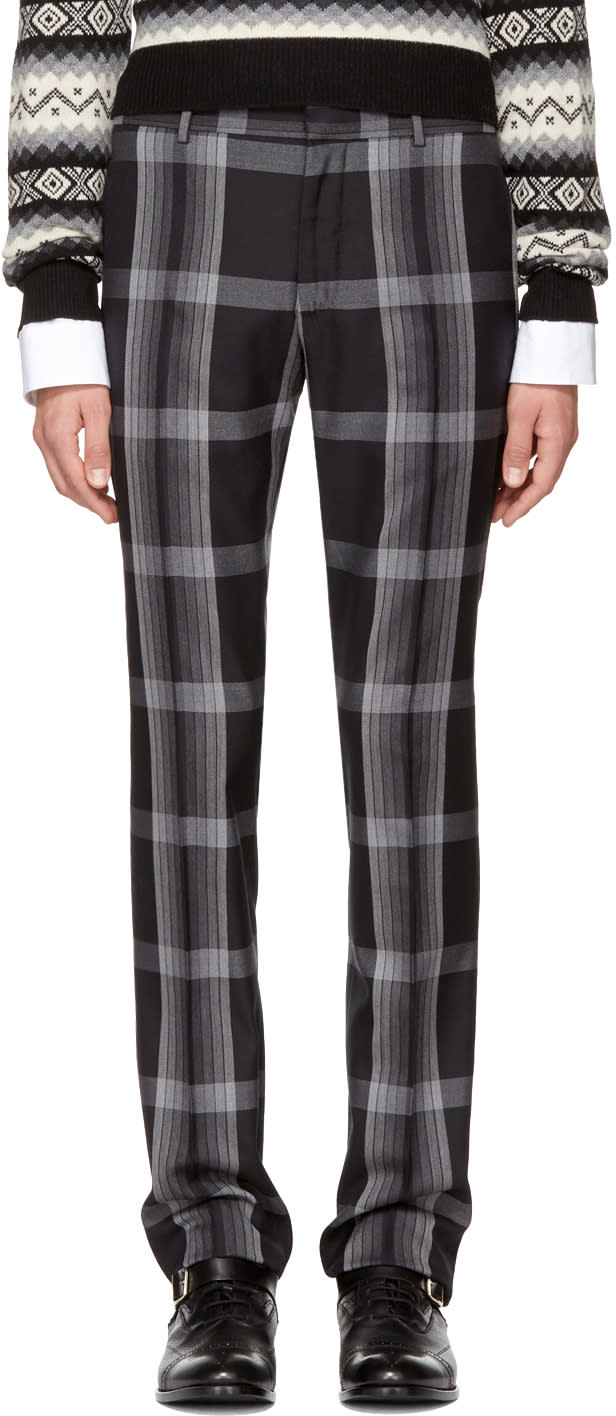 Image of Alexander Mcqueen Black and Grey Check Cigarette Trousers