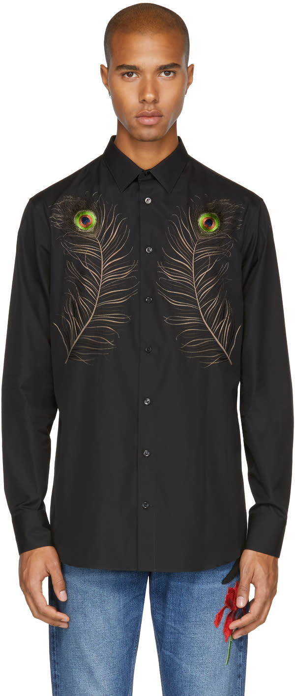 Alexander Mcqueen Chemise Brodée Noire Peacock