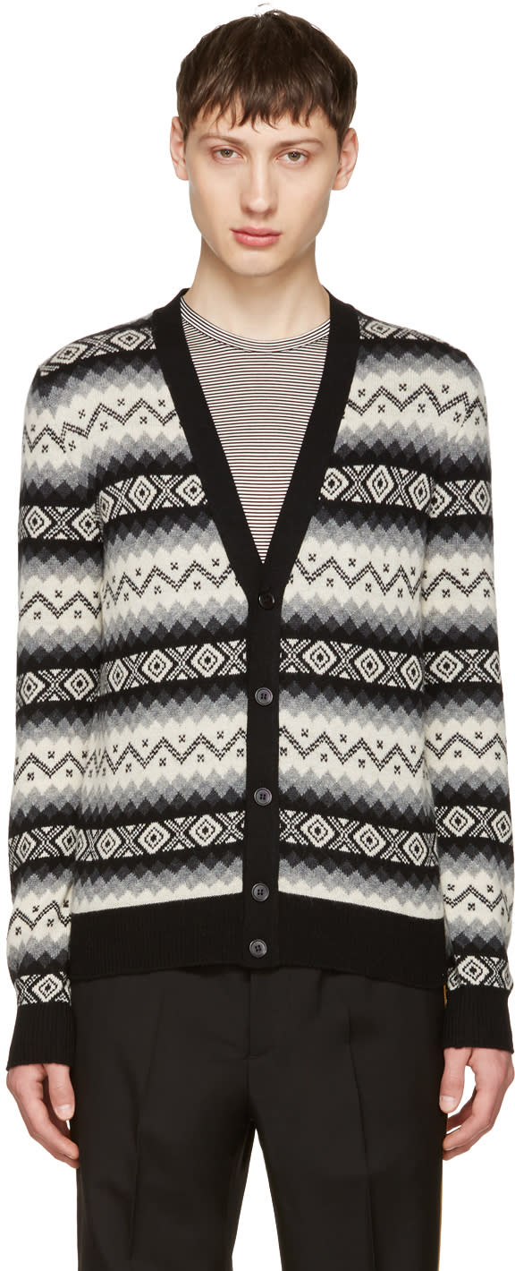 Image of Alexander Mcqueen Black and Beige Cashmere Cardigan