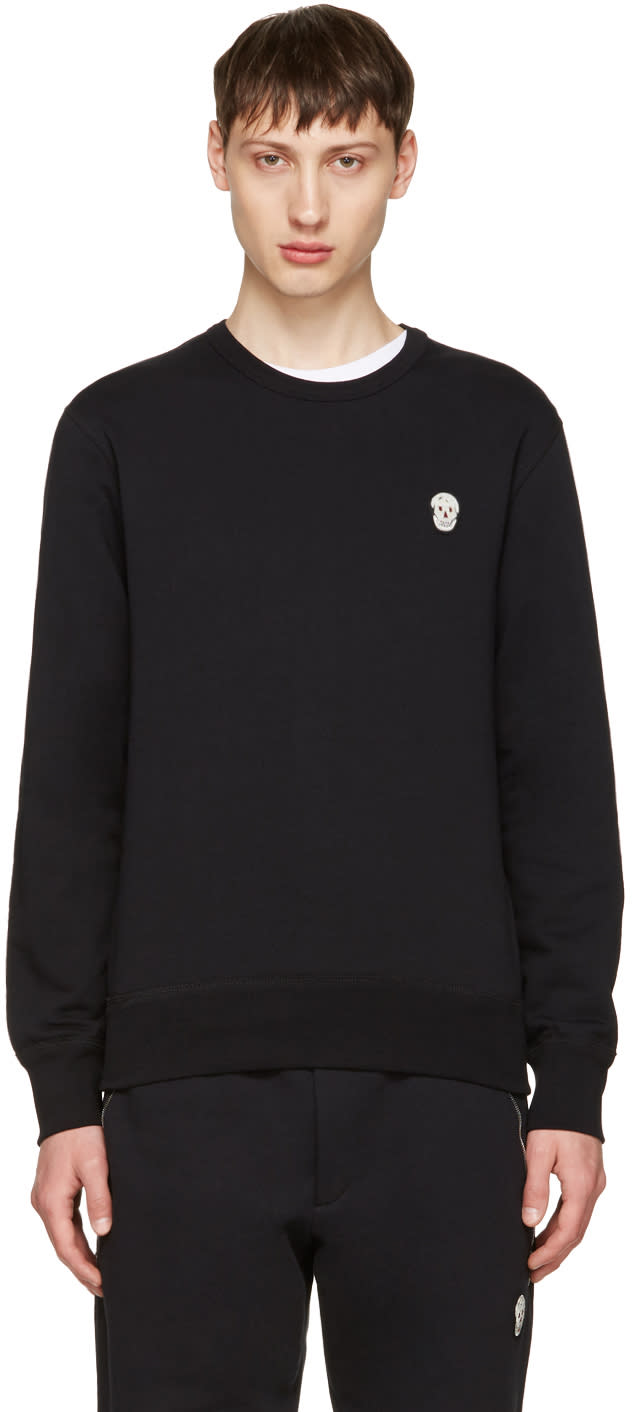 Alexander Mcqueen Black Bullion Skull Patch Sweatshirt