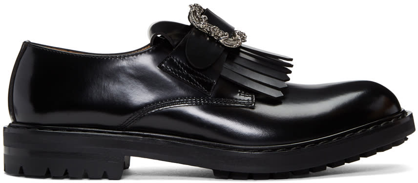 Alexander Mcqueen Black Engraved Buckle Loafers