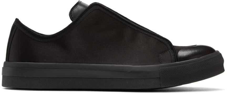 Alexander Mcqueen Black Satin Low Cut Sneakers