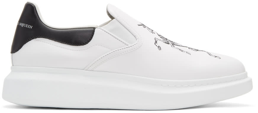 Alexander Mcqueen White Embroidered Oversized Slip-on Sneakers