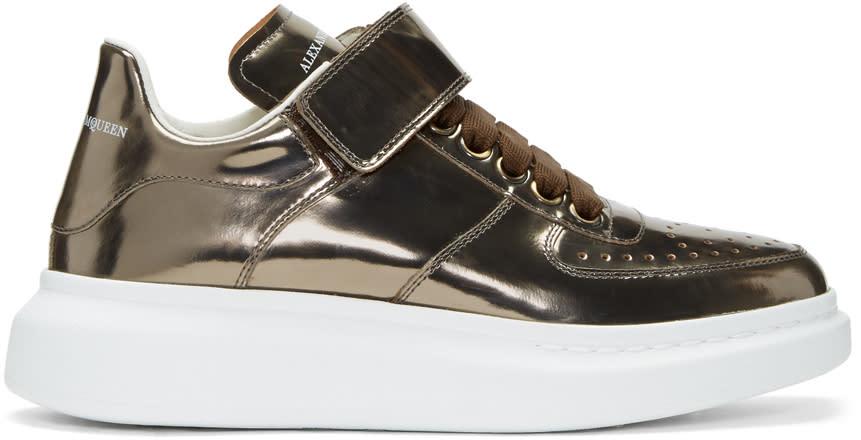 Alexander Mcqueen Bronze Oversized Strap High-top Sneakers