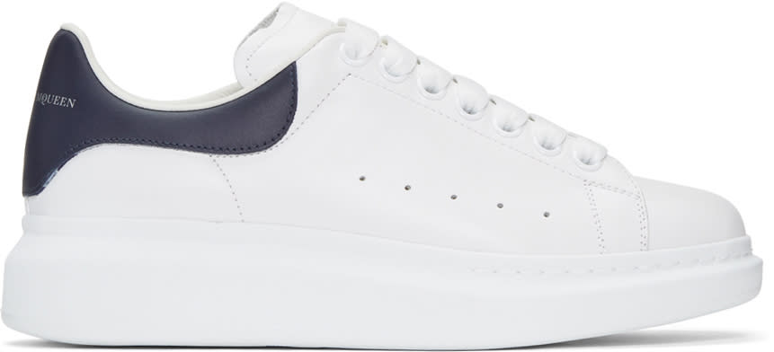 Alexander Mcqueen White and Navy Oversized Sneakers
