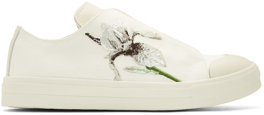 Alexander Mcqueen Ivory Embroidered Iris Sneakers