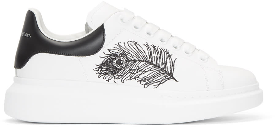 Alexander Mcqueen White and Black Peacock Feather Oversized Sneakers