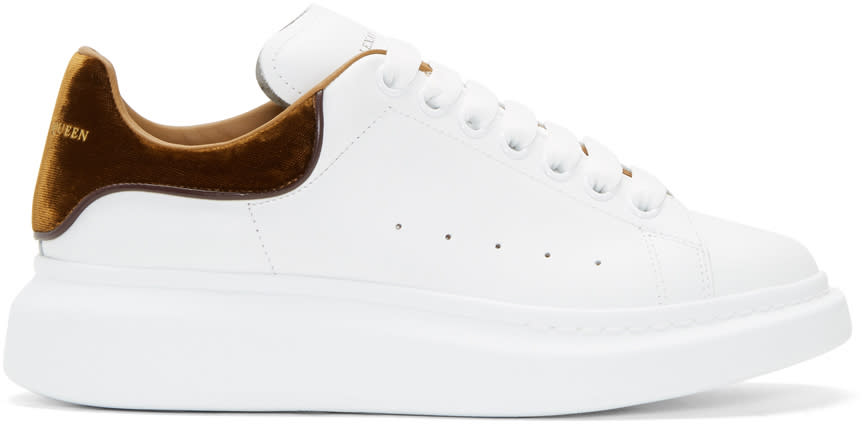 Alexander Mcqueen White and Tan Oversized Sneakers