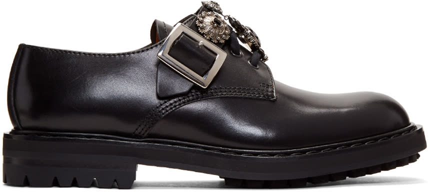 Alexander Mcqueen Black Embellished Monkstraps