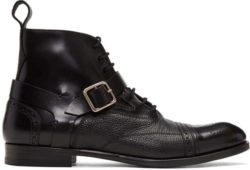 Alexander Mcqueen Black Buckle Brogue Boots