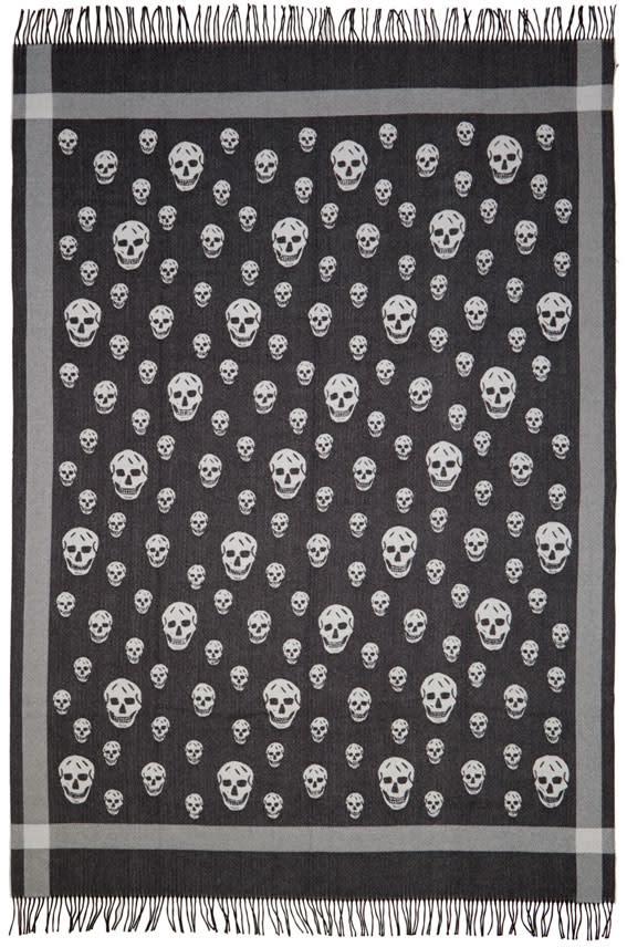Alexander Mcqueen Black and Ivory Skull Blanket