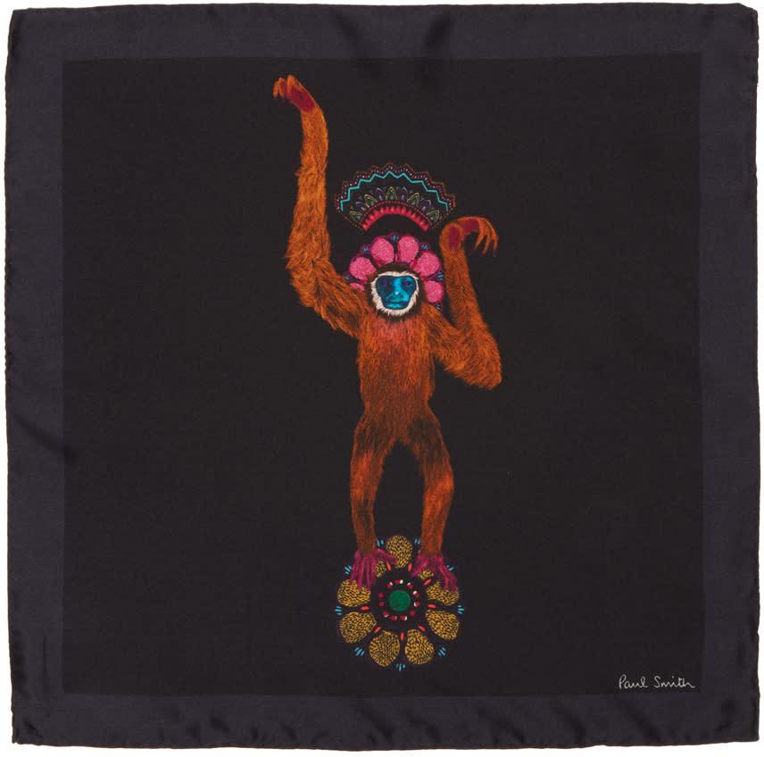Paul Smith Black Mainline Monkey Pocket Square
