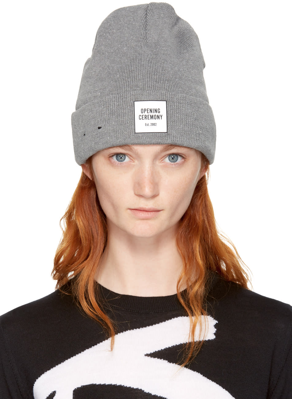 Opening Ceremony Grey New Era Edition Logo Beanie  037c06fd5f1