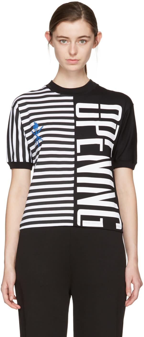 Opening Ceremony Black Striped Stretch Logo T-shirt