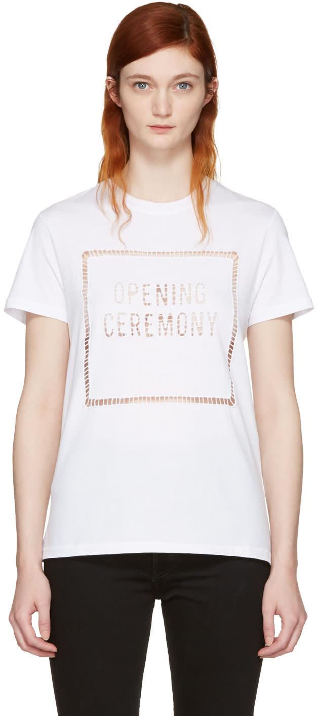 Opening Ceremony White Logo Eyelet T-shirt