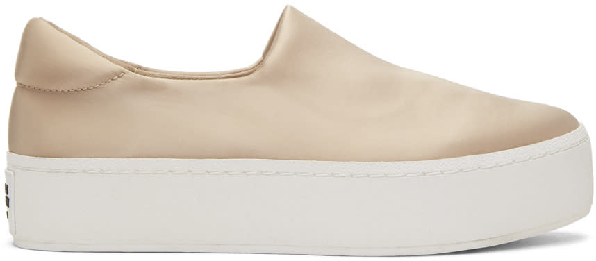 Image of Opening Ceremony Beige Satin Cici Platform Slip-on Sneakers