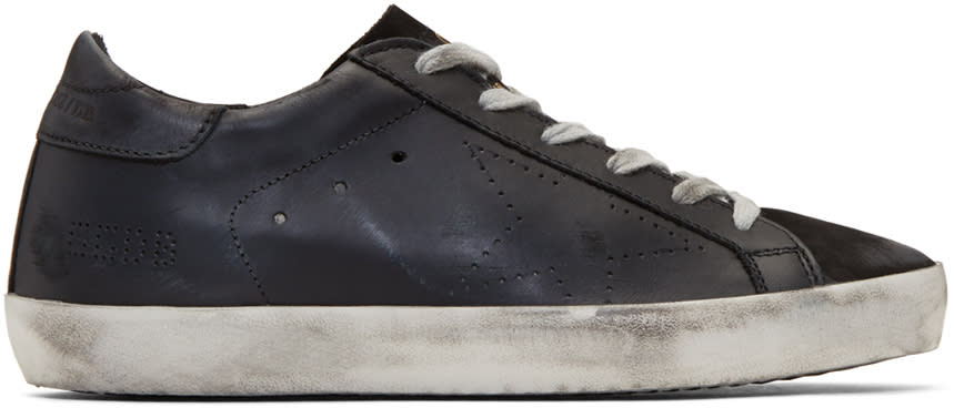 Image of Golden Goose Black Perforated Superstar Sneakers