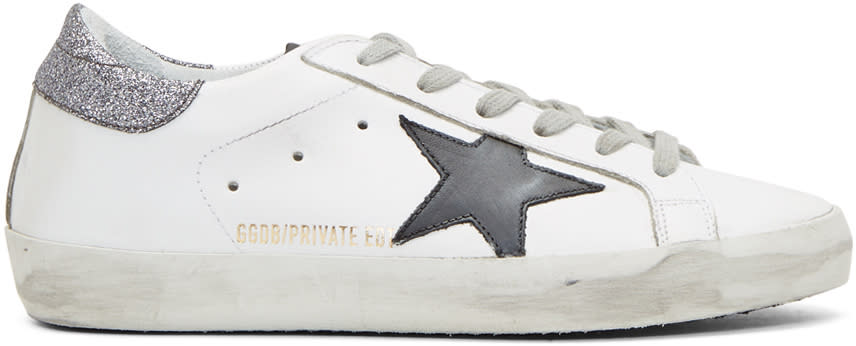 Golden-Goose-Ssense-Exclusive-White-and-Silver-Glitter-Superstar-Sneakers