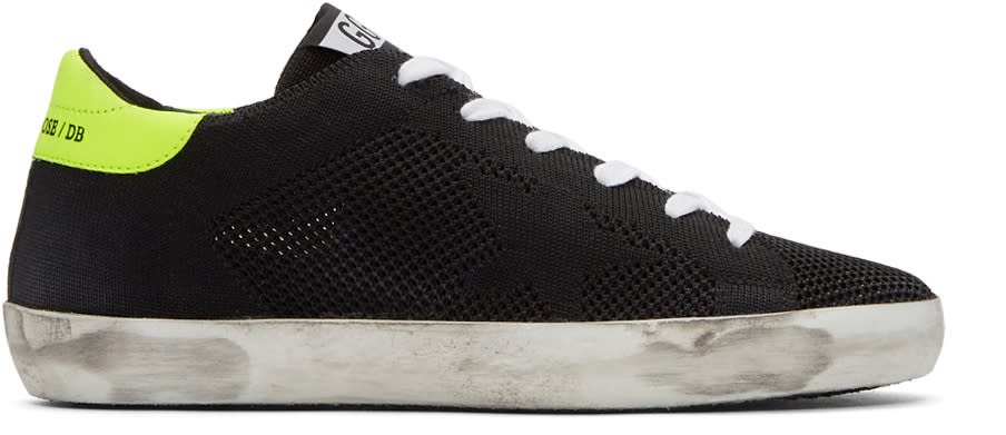 Image of Golden Goose Black Knit Superstar Sneakers