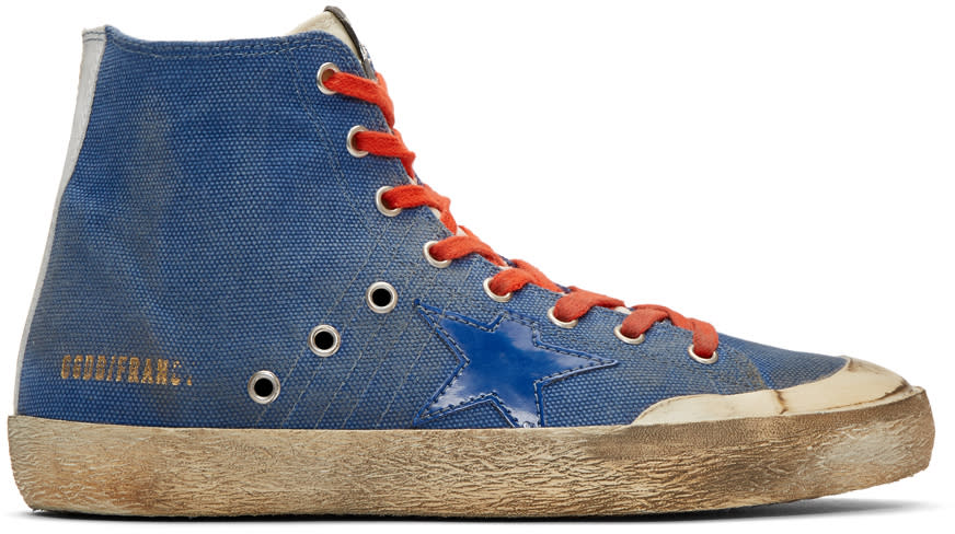 Golden Goose Indigo Canvas Francy High-top Sneakers