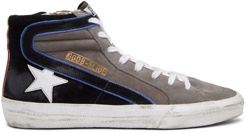 Golden Goose Grey Suede Slide High-top Sneakers