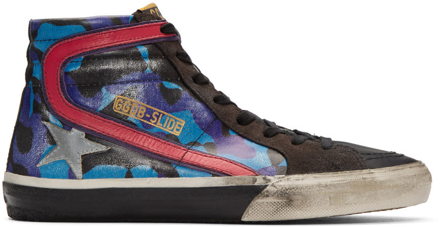 Golden Goose Blue Camo Slide High-top Sneakers