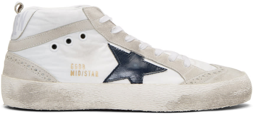 Golden Goose White Nylon Mid Star Sneakers