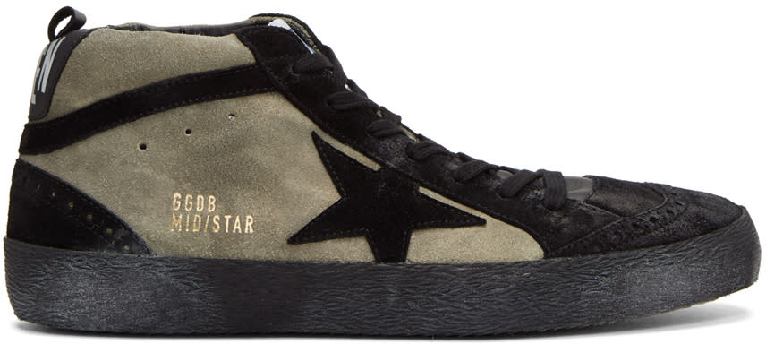 Image of Golden Goose Black and Grey Suede Mid Star Sneakers
