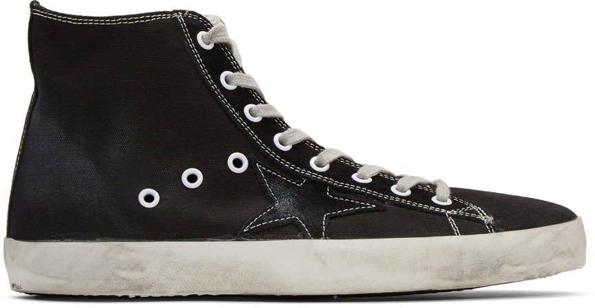 Golden Goose Black Canvas Francy High-top Sneakers