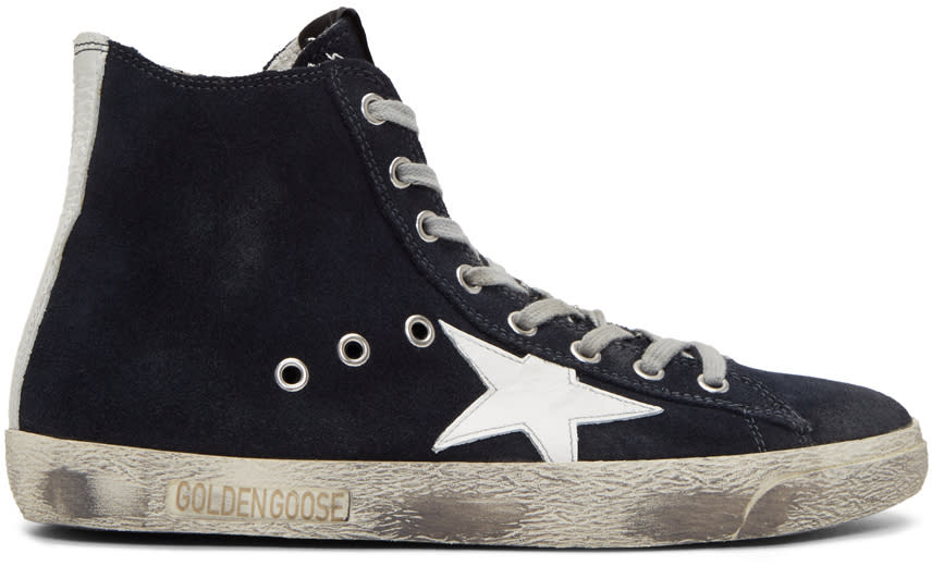 Golden Goose Navy Suede Francy High-top Sneakers
