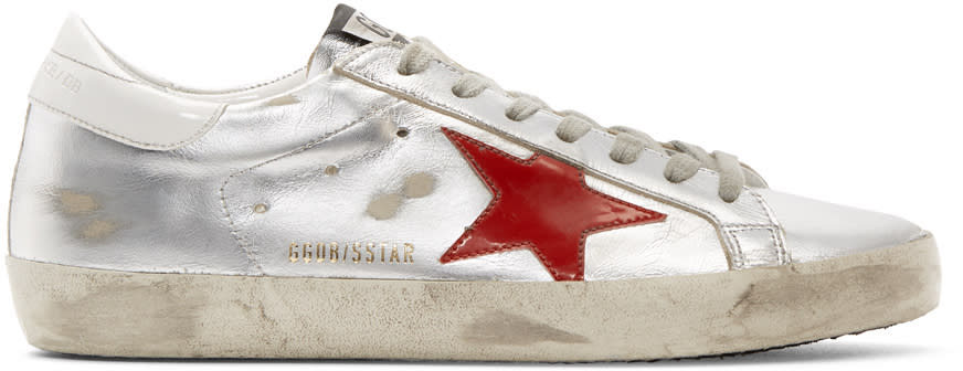 Golden Goose Silver and Red Superstar Sneakers