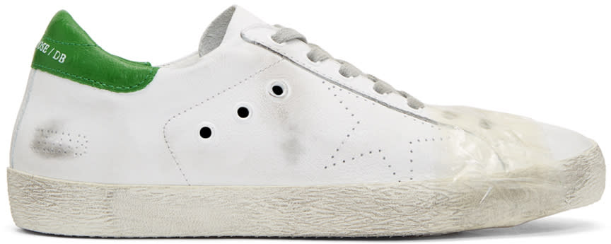 Golden Goose White and Green Tape Superstar Sneakers
