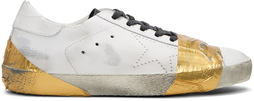 Golden Goose White and Gold Tape Skate Superstar Sneakers