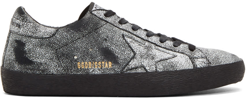 Image of Golden Goose Black Painted Superstar Sneakers