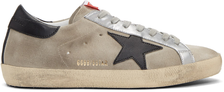 Golden Goose Grey and Black Suede Superstar Sneakers