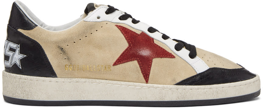 Golden Goose Beige and Black Suede Ball Star Sneakers